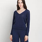 Одежда handmade. Livemaster - original item Navy pure cashmere sweater. Handmade.