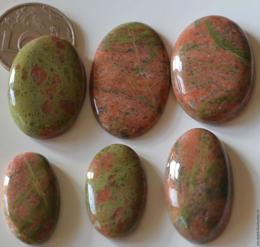 Для украшений ручной работы. Ярмарка Мастеров - ручная работа. Купить Унакит натуральный, крупный кабошон.. Handmade. Драгоценный камень