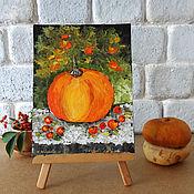 "Картины и панно handmade. Livemaster - original item Still life vegetable pumpkin small oil painting 8"" x 11"". Handmade."