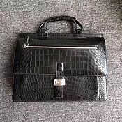 Сумки и аксессуары handmade. Livemaster - original item Men`s briefcase, crocodile skin, in black.. Handmade.
