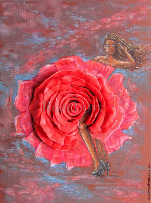Объемная картина `Розы..страстный танец` Катерины Аксеновой.Розы из полимерной глины.Розы из холодного фарфора.Цветы.Смешанная техника.Девушка.
