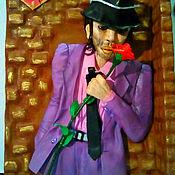 """Картины ручной работы. Ярмарка Мастеров - ручная работа Картина-часы  """"Мужчина в шляпе"""". Handmade."""