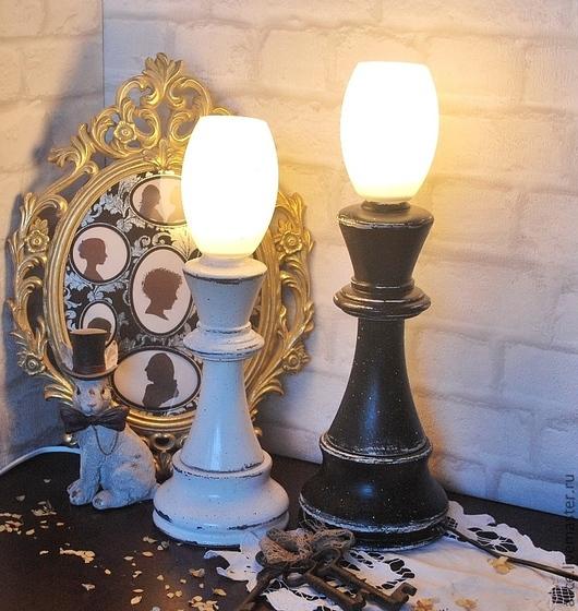 """Освещение ручной работы. Ярмарка Мастеров - ручная работа. Купить """"Партия"""" светильники. Handmade. Чёрно-белый, парочка, белый цвет"""