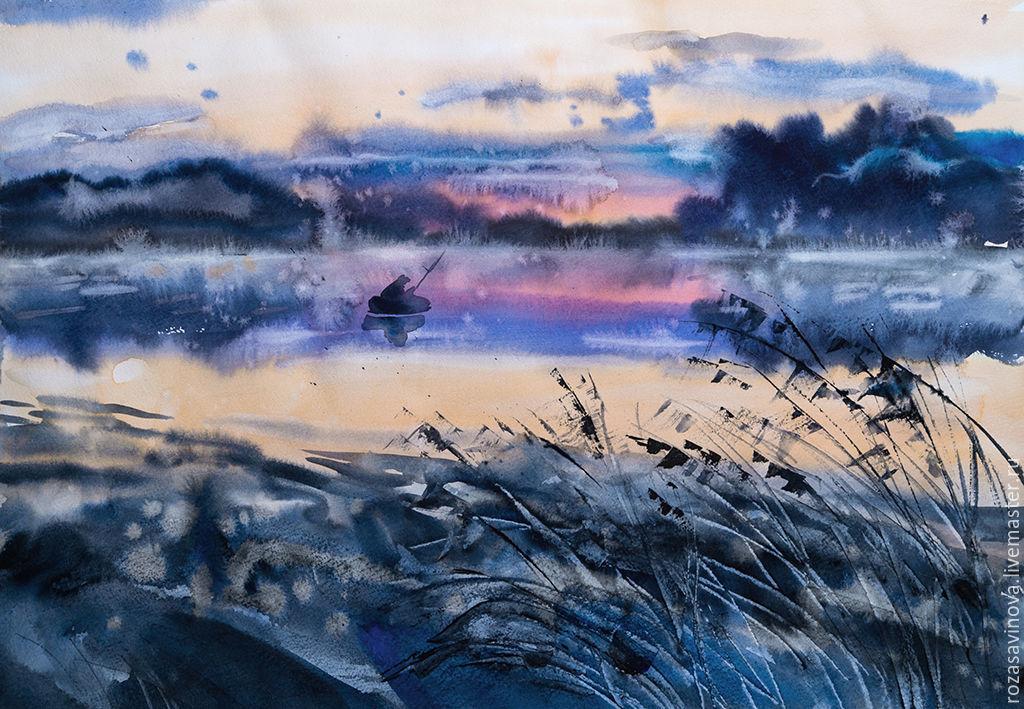 Painting watercolor Morning Karaganka, Pictures, Magnitogorsk,  Фото №1