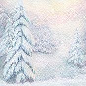 Картины и панно ручной работы. Ярмарка Мастеров - ручная работа Картина с зимним пейзажем Закат в лесу Постер  холст бумага. Handmade.