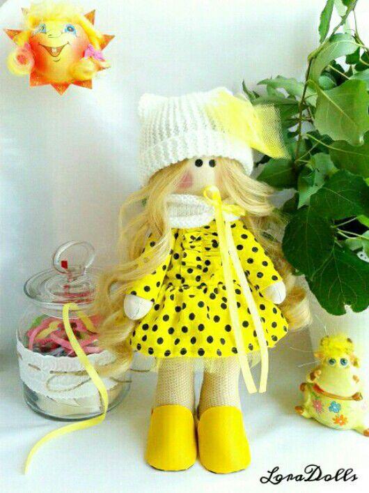 """Куклы тыквоголовки ручной работы. Ярмарка Мастеров - ручная работа. Купить Интерьерная кукла """"Солнышко"""". Handmade. Желтый, хлопок с вискозой"""