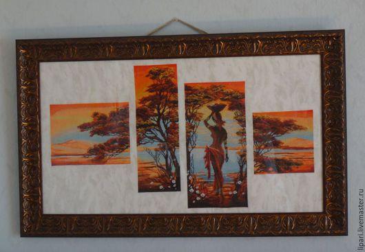 Пейзаж ручной работы. Ярмарка Мастеров - ручная работа. Купить Африка. Оранжевая река.. Handmade. Рыжий, африканский пейзаж, багет