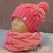 Caps handmade. Livemaster - original item Knitted hat with braids and Snood. Handmade.