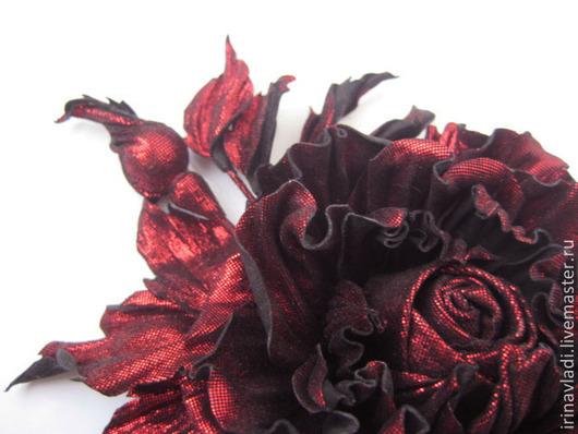 украшение из кожи брошка  брошка из кожи цветок  украшение цветок роза украшение кожаная брошь  кожаная роза бордовая,брошь заколка из кожи цветок, брошь заколка кожаная роза