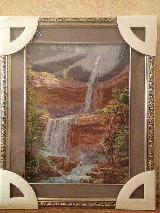 Пейзаж ручной работы. Ярмарка Мастеров - ручная работа. Купить Водопад гобелен. Пейзаж. Вышитая картина. Handmade. Водопад, пейзаж