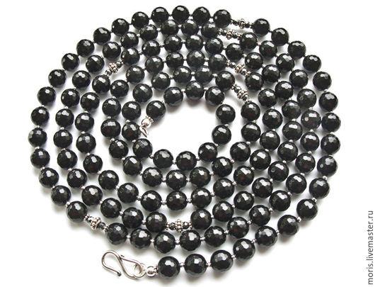 Черные бусы из натуральных камней и серебра. Очень длинный сотуар ( 128 см) полностью из натуральных камней, черного оникса 8 мм, серебристого гематита и серебра.