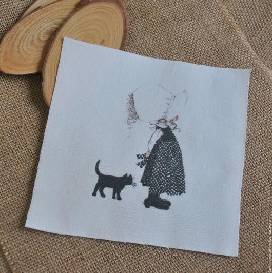Купон Девочка с черным котом, лен 15х15, 3164