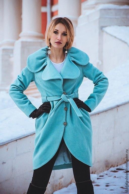 """Верхняя одежда ручной работы. Ярмарка Мастеров - ручная работа. Купить Пальто """"Нотки бирюзы"""". Handmade. Тёмно-бирюзовый"""