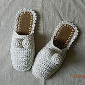 """Обувь ручной работы. Ярмарка Мастеров - ручная работа Тапочки из рекламы """"Вискас"""" 37-38 р-р (почти) в белом. Handmade."""