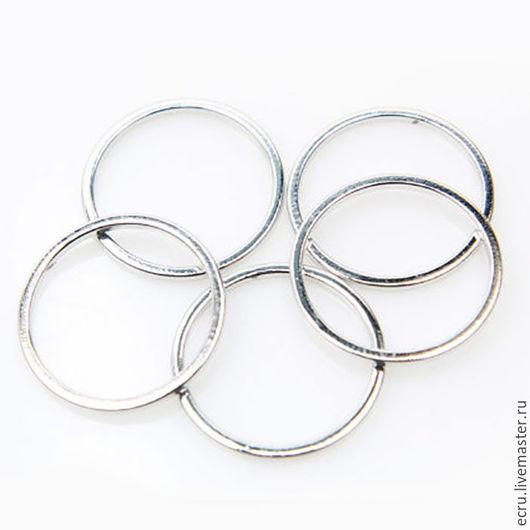 Коннектор кольцо 15 мм, родиевое покрытие, фурнитура Южная Корея