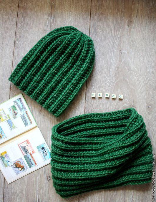 """Шапки ручной работы. Ярмарка Мастеров - ручная работа. Купить Комплект """"Хвойный лес"""". Handmade. Тёмно-зелёный, шапка на спицах"""