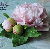 Украшения ручной работы. Ярмарка Мастеров - ручная работа Брошь с розовым пионом и бутонами из полимерной глины. Handmade.
