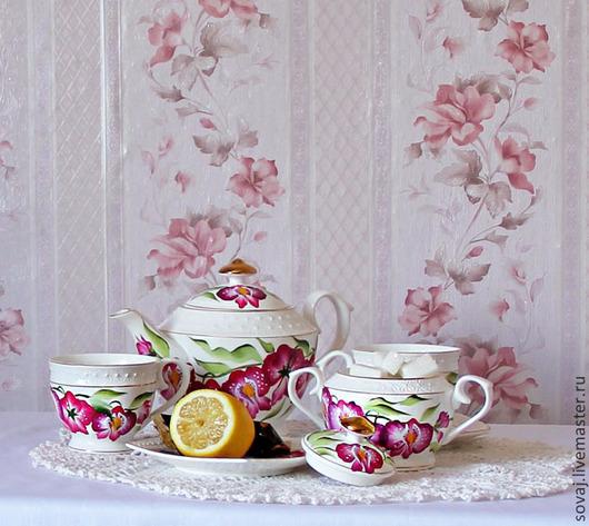 """Сервизы, чайные пары ручной работы. Ярмарка Мастеров - ручная работа. Купить Сервиз с росписью  двойной мазок """"Свадебные орхидеи. Handmade."""