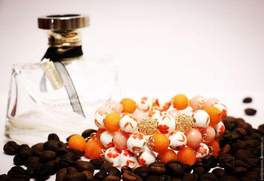 """Браслеты ручной работы. Ярмарка Мастеров - ручная работа. Купить Комплект из трех браслетов """"МАГИЯ очарования"""". Handmade. Рыжий, оранжевый"""