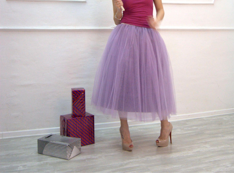 Фатиновая сиреневая юбка