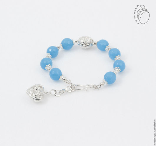 Мирабель-бижутерия. Браслет Aqua c тонированным агатом, небесно голубой, подвеска сердце, под серебро, фото. Купить браслет в Москве. Mirabelle. Handmade. Blue bracelet