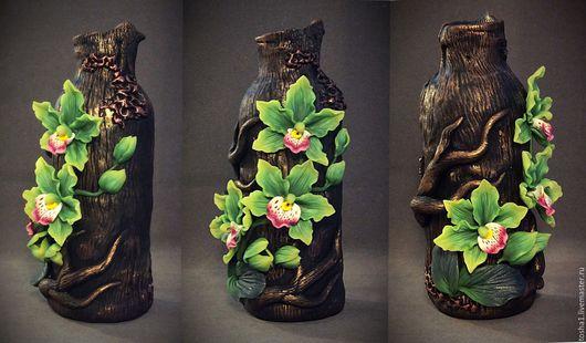 """Вазы ручной работы. Ярмарка Мастеров - ручная работа. Купить Ваза """" зеленые орхидеи """". Handmade. Комбинированный"""