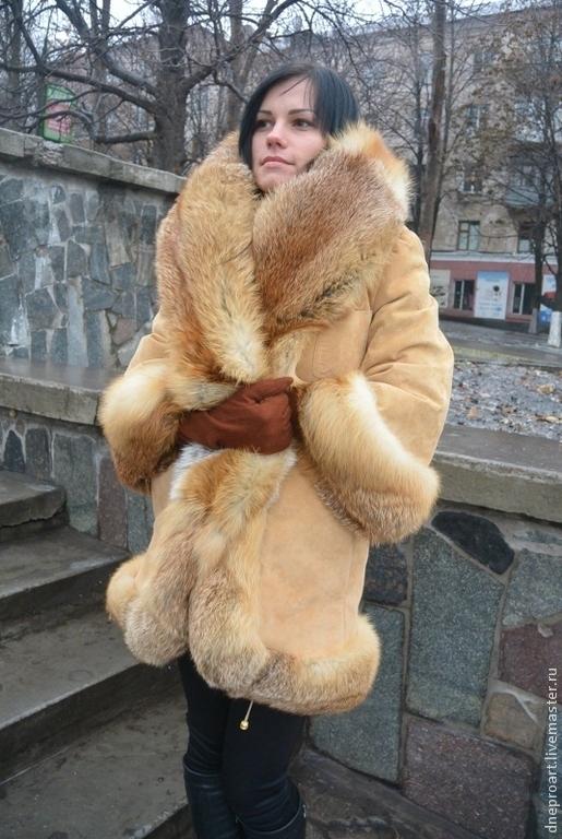 Верхняя одежда ручной работы. Ярмарка Мастеров - ручная работа. Купить Пальто-куртка зимнее замшевое с отделкой мехом лисы и капюшоном. Handmade.