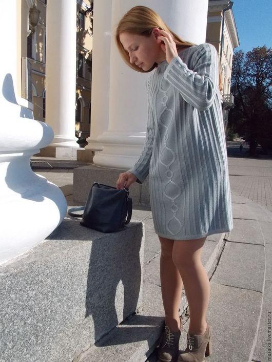 Платья ручной работы. Ярмарка Мастеров - ручная работа. Купить Вязаное платье ОВ1501. Handmade. Серый, вязаное платье