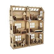 Модульный Кукольный домик 3 этажа 6 комнат (без мебели)