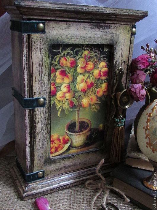 """Прихожая ручной работы. Ярмарка Мастеров - ручная работа. Купить Ключница """"les jardins"""". Handmade. Коричневый, дерево, винтажный стиль"""