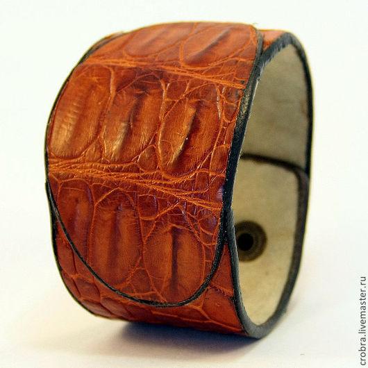 Браслеты ручной работы. Ярмарка Мастеров - ручная работа. Купить Крокодиловый браслет Наруч-оберег. Handmade. Рыжий, крокодил, творчество