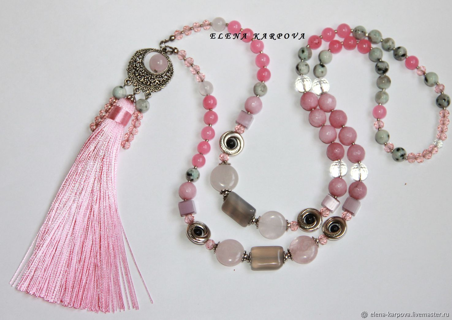 e5c8d24492a18 Necklaces & Beads handmade. Livemaster - handmade. Buy Long beads Dusty  rose. agate ...