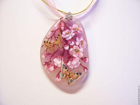 Кулон `Сакура` роспись по камню