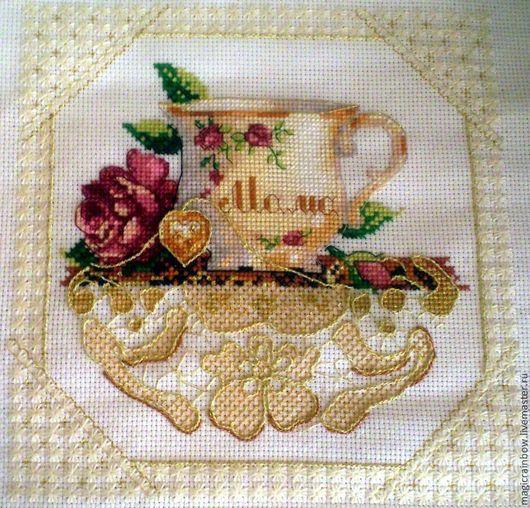 """Картины цветов ручной работы. Ярмарка Мастеров - ручная работа. Купить Вышивка """"Мамина чашка"""". Handmade. Золотой, Вышивка крестом"""