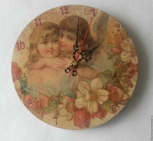 Часы для дома ручной работы. Ярмарка Мастеров - ручная работа. Купить Часы Ангелочки. Handmade. Часы, цветы, подарок