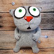 Куклы и игрушки handmade. Livemaster - original item Soft toy grey plush cat scared for cat lovers. Handmade.