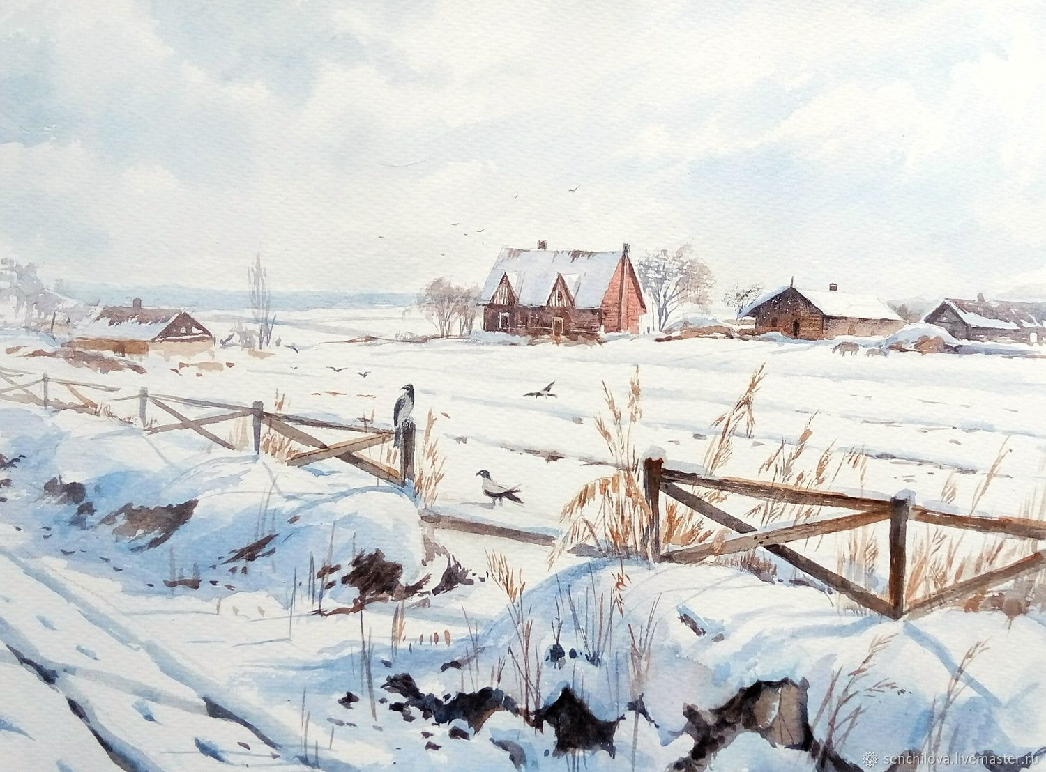 Painting watercolor 'Jan.White plain.', Pictures, Moscow,  Фото №1