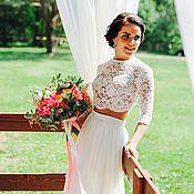 Свадебный салон ручной работы. Ярмарка Мастеров - ручная работа Свадебный наряд (топ и юбка). Handmade.