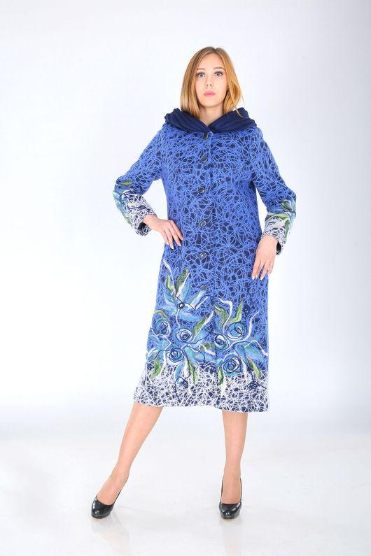 Верхняя одежда ручной работы. Ярмарка Мастеров - ручная работа. Купить П 65. Handmade. Синий, пальто женское