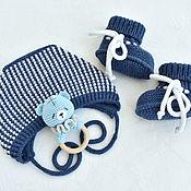 Одежда детская handmade. Livemaster - original item Set for newborn. Cap, booties, toy.. Handmade.
