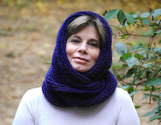 """Шали, палантины ручной работы. Ярмарка Мастеров - ручная работа. Купить Снуд- шарф  """"Черничка"""" (полушерсть). Handmade. Тёмно-синий"""
