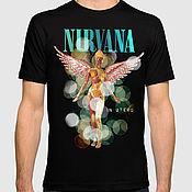 "Одежда handmade. Livemaster - original item Футболка с принтом ""Nirvana"". Handmade."