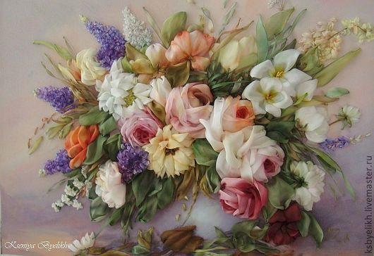 """Картины цветов ручной работы. Ярмарка Мастеров - ручная работа. Купить Букет в вазе """"Розы"""". Handmade. Картина в подарок"""