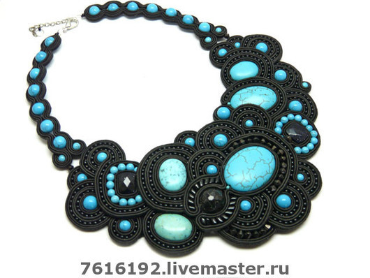 Necklaces & Beads handmade. Livemaster - handmade. Buy necklace 'Lady in Black'.Necklaces, soutache embroidery, handmade