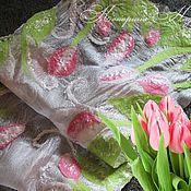 """Аксессуары ручной работы. Ярмарка Мастеров - ручная работа Шарф валяный """"Нежность весны. Тюльпаны"""". Handmade."""