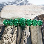 Материалы для творчества manualidades. Livemaster - hecho a mano Conjunto de perlas verdes huecas cúbicas. Handmade.
