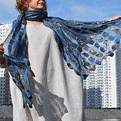 Палантины ручной работы. Ярмарка Мастеров - ручная работа Синий палантин шелковой основе Валяный шарф Прекрасный подарок. Handmade.