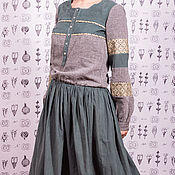 Одежда ручной работы. Ярмарка Мастеров - ручная работа Мятное платье бохо из микровельвета и льна. Handmade.