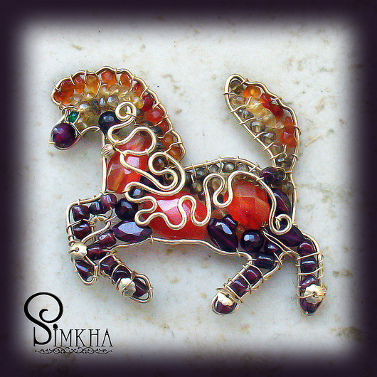 Brooches handmade. Livemaster - handmade. Buy Brooch 'Horse of good fortune'.Horse, coral, citrine