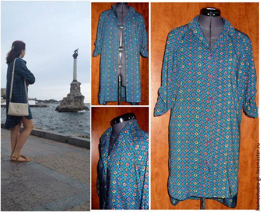 """Платья ручной работы. Ярмарка Мастеров - ручная работа. Купить Платье -рубашка """"Море"""". Handmade. Синий, американские ткани"""